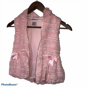 Little lass faux fur with sequins vest jacket